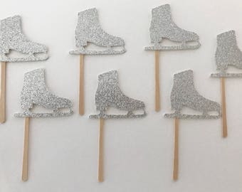 """24 Ice Skate Cupcake Toppers 