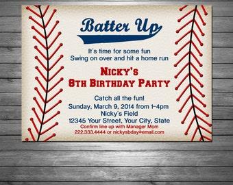 Little Slugger Baseball Birthday Party Invitations Boy or