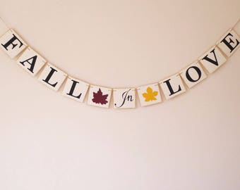 Fall in love banner, fall wedding, bridal shower, engagement, bride to be, burgundy, maroon, sunflower yellow