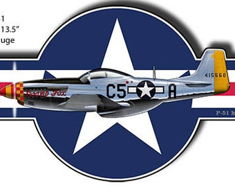 Airplane P-51 Mustang Laser Cut Out Aviation Metal Sign 13.5x22