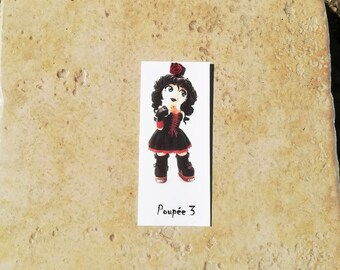 Bookmark 3 black, red dress doll