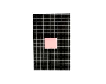 """Illustrated Notebook 100 lined sheets - A5 14.8cmX21cm (5.8"""" X 8.3"""") Squares pattern in Black and White Lined notepads"""