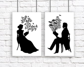 Large Print Silhouette Set Reading Nautical Book Black and White Tree Birds Coral Fish