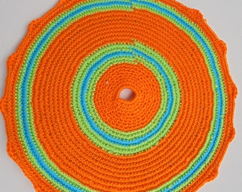 Crocheted Pot Holder, handmade, cotton, colourful, decorating and using accessory, Kitchen and Dining, Kitchen Décor, useful item, orange