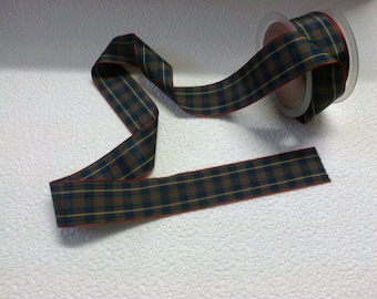 Plaid Ribbon green dark wide 3.8 cm
