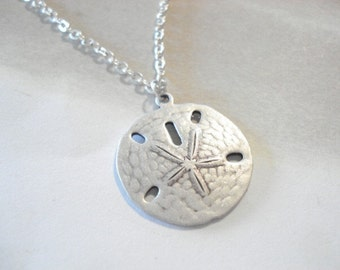 Silver Sand Dollar Necklace Silver Sand Dollar Pendant Beach Jewelry Sanddollar Necklace