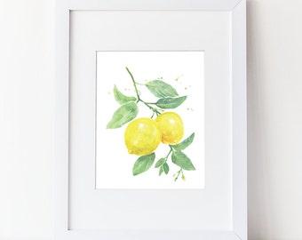 Lemon Art Print- Watercolor Lemon Branch Art Print - Simple Watercolor Art - Various Sizes