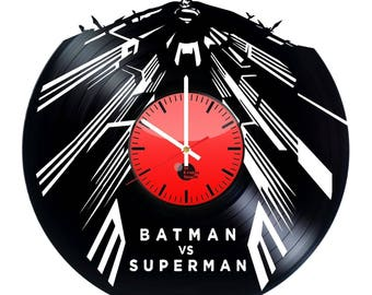 Superman and Batman Vinyl Record Wall Clock