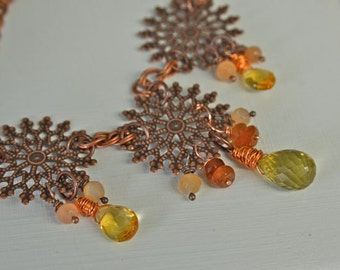 Citrine Necklace Garnet Lemon Quartz Moonstone Necklace Copper Earrings