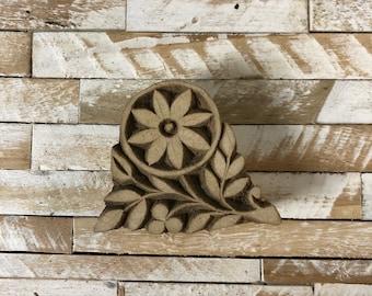 Vintage Wood Printing Block Stamp Made in India Floral/Flower Design (#48)