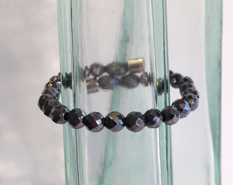 Faceted magnetic hematite bracelet - 6mm faceted beads - custom sized