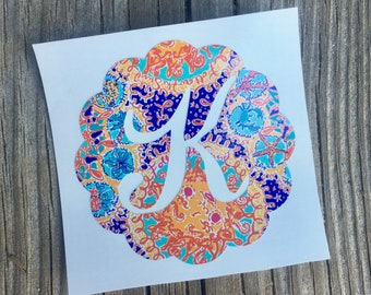 Lilly Inspired Scalloped Initial Vinyl Decal - Southern Preppy Monogrammed Lilly Pulitzer