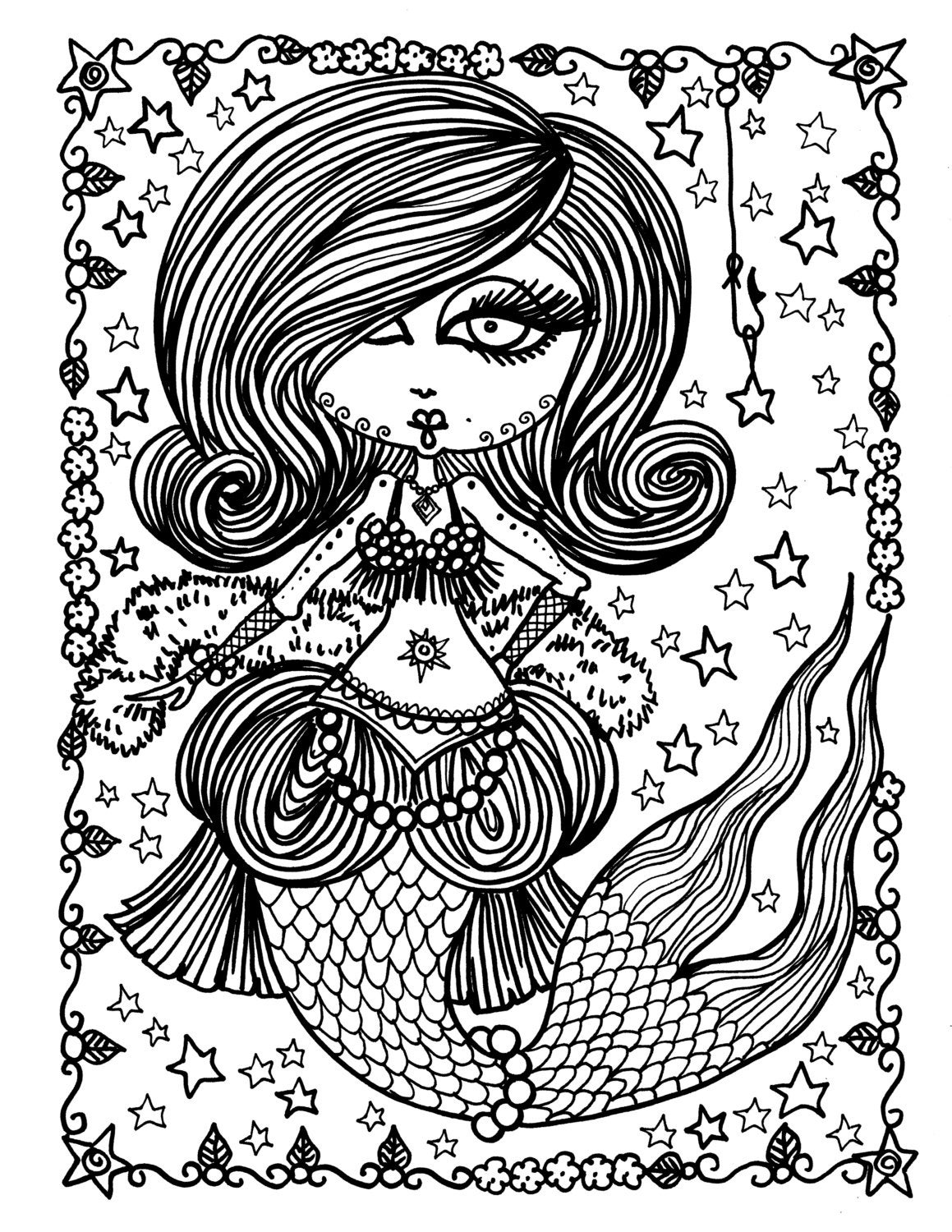 5 Pages Burlesque Mermaids to Color Digital Coloring for