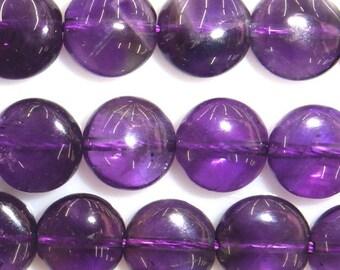 10mm Flat Round Amethyst Bead Semiprecious Gemstone Bead String Beading 15''L Jewelry Supply Wholesale Beads