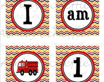 Firefighter. Fire truck. Printable. High Chair Banner. I am 1. Printable. DIY Banner. Birthday. Instant Download