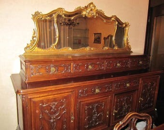 Cabinet with mirror and drawers raised Piedmontese Baroque Years 50/60