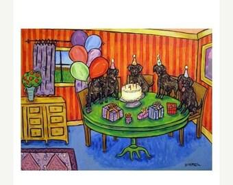 25% off Black Labrador's Birthday Art Print   JSCHMETZ modern abstract folk pop art AMERICAN ART gift