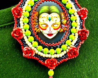 Red Rose Day of the dead pin