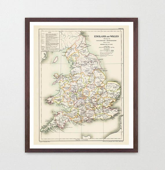 England Map - England and Wales - Wales Map - England Art - England Poster - Antique Map - Vintage Map - Old Map - London England - Map Art