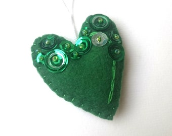felt heart ornament for her - Valentine's day - dark green heart decoration for Christmas - Baby shower idea - It's a Girl - decor