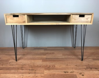 Desk Table Mid Century Modern Style with hairpin legs, shelf and drawer