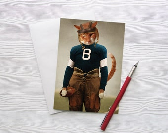 Football Greeting Card Cat Stationery Animal Photography Cat Photo Cat Pet Portrait Note Card 5x7 Photo Card - Quarterback Beans
