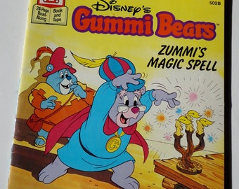 1 Vintage Walt Disney Childrens Books - Gummi Bears Zummis Magic Spell - Retro Cartoon Storybook Kids Reading Fun Gift, Collectible Old Book