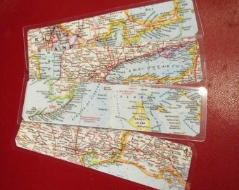 Bookmark with map etsy map bookmarks vintage atlas bookmarkers custom bookmark cartography student gift recycled vintage gumiabroncs Gallery