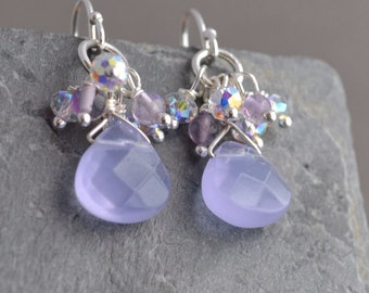 Purple chalcedony dangle and sparkle earrings, sterling silver and crystal, free shipping