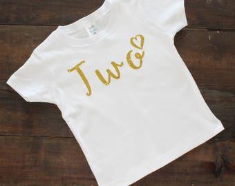 2nd Birthday Shirt Girl - Gold Sparkle - Birthday Shirt  - Custom Colors