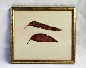 Rare Vintage Framed William Ricketts Signed Gum Leaves c 1960's