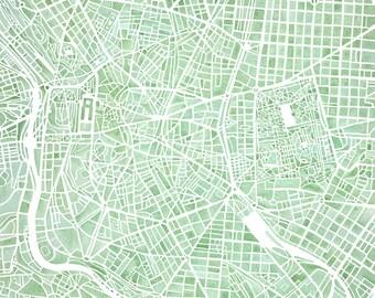 Madrid Spain watercolor map