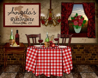 Italian kitchen art, personalized print, Italian ristorante, trattoria,cafe art,Italian wedding gift,culinary chef gift,Italian Mother's Day