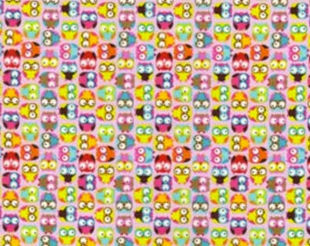 Mini Owls in Pink - Timeless Treasures Fabric