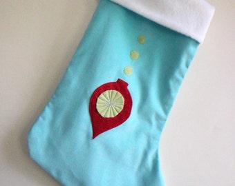Ornament Aqua Blue Modern Christmas Stocking - Personalized Christmas Stocking - Blue Stocking