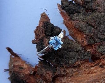 March birthstone ring natural aquamarine ring princess aquamarine gemstone ring solitaire ring sterling silver ring 925 Starling Silver Ring