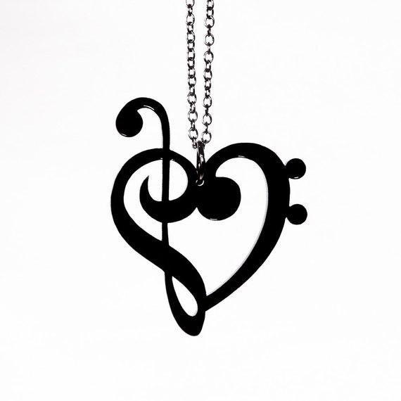 treble bass clef heart necklace laser cut acrylic music rh etsy com treble and bass clef heart treble bass clef heart tattoo