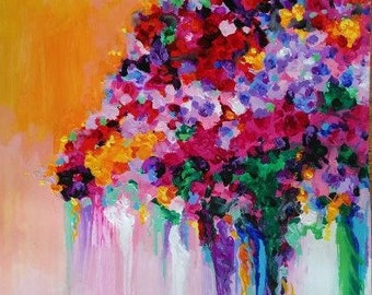 "Sunset Bride is an original 18x24"" acrylic painting on fine art paper. This vibrant work is full of color."