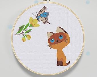 Kitten & butterfly Cross Stitch Pattern, Baby Cross Stitch Pattern, Modern cross stitch pattern PDF - Instant download