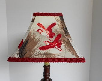 Colorful Vintage Red Bird Fabric Lampshade With Rich Red Braid Trim And  Binding, Four Panel