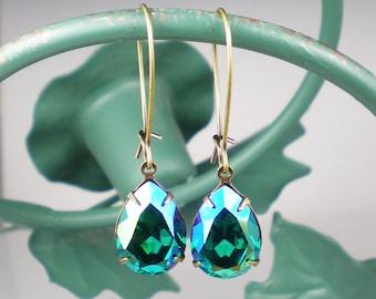 Blue Zircon Glacier Blue Rhinestone Dangle Earrings  Earrings Teal Blue Green