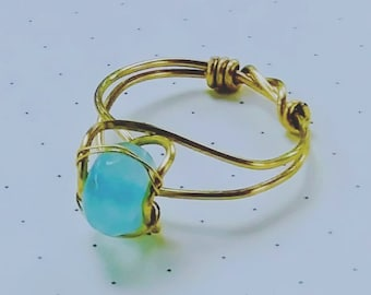 Amazonite 6mm stone  gold filled hand wrapped ring