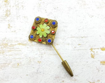 Pretty Czech Glass Stick Pin 1930 Mint condition Fine Detail Pin Enamel Brass