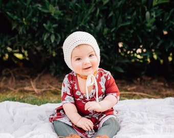 Classic Crochet bonnet | REMI Bonnet |  Crochet Baby Bonnet, Cotton Bonnet, Spring Bonnet, Cream Bonnet, Toddler Hat, Knit Baby Hat