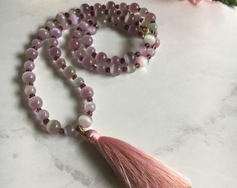Pink Tassel Necklace with Iridescent Glass Beads