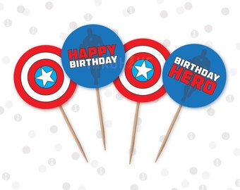 INSTANT DOWNLOAD - Cupcake Toppers - American Captain Superhero Printable Party Collection by InkoHaus - PDF