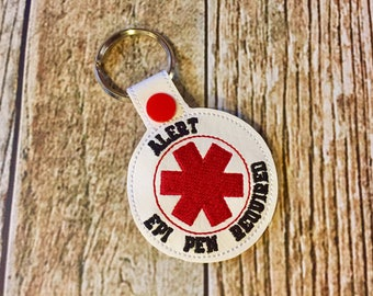 Epi Pen Required Round Key Chain - Vinyl keychain snap key fob - Choose Your Colors - Medical Alert