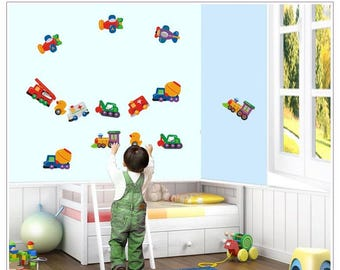 Planes, Trains & Trucks Nursery Kids Wall Decals / Wall Stickers (AW643)