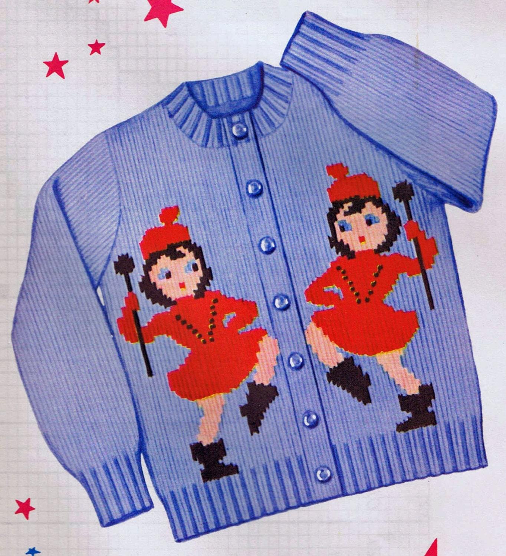 1950s Knit O Graf PATTERN Girls Drum Majorette Cardigan