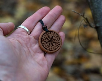 Viking Amulet - Helm of Awe - Aegishjalmur Rune - Gift Necklace - Talisman - Amulet From Solid Beech - Gift for Brother from Sister.